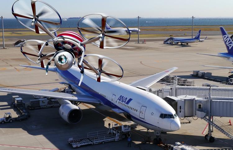 Drönare ska hjälpa flygbolaget ANA att underlätta säkerhetskontroller av flygplan. Foto: Public Domain (två foton sammansatta av Japanbloggen)