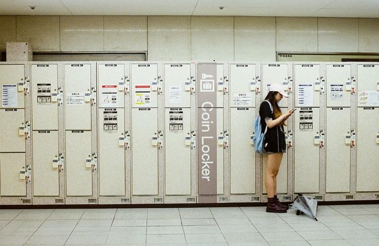 Förvaringsboxar på en station någonstans i Japan.  Foto: Toomore Chiang, Creative Commons license