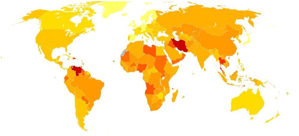 Ljusare färg är färre döda i trafiken. Notera Thailands mörka färg; landet är ökänt för sina många trafikolyckor.  Klicka för att förstora bilden.  Bild: Chris55, Creative Commons