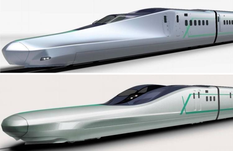 Shinkansen Alfa-X får en ännu extremare nos än dagens värsting-tåg i Japan.  Bild: JR EAST