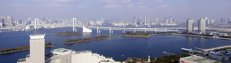 Ett av de två områdena med många OS-anläggningar ligger kring Tokyo-bukten.  Foto: Public Domain