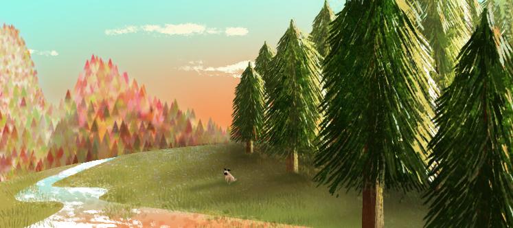 jess blank pug on a hill