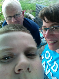 Backyardcast, with photobomb by the boy....
