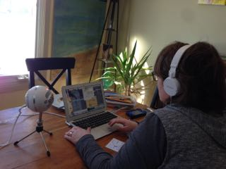 Isabelle practicing her Skype recording skills for her upcoming art podcast