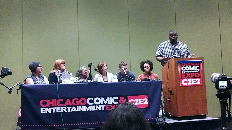 L to R: Michi Trota, Gail Simone, Mary Anne Mohanraj, Mary Robinette Kowal, Scott Snyder, Karlyn Meyer, Jeff Smith.