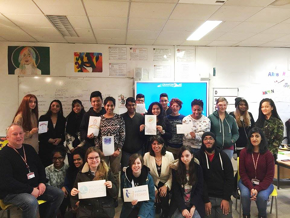 The National Saturday Art and Design Club (class of 2016-17) at Cranford designed the logo for Hounslow' Promise, a charity founded by Seema Malhotra MP.   Photo: National Saturday Art and Design Club at Cranford Community College with Seema Malhotra MP (MP of Feltham and Heston in West London - centre of image), Alan Fraser (Assistant Headteacher and Chairman of the National Saturday Art and Design Club - far left) and Aminder Virdee (Artist and Workshop Leader/ Art Tutor - far right).