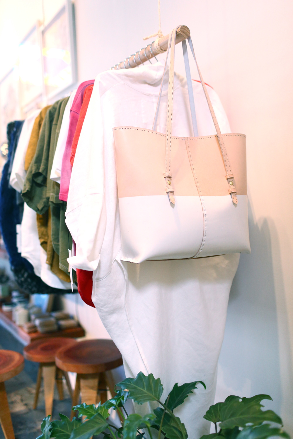 white printed structured tote with Cocoon Dress + dyed tees by Perfect 69