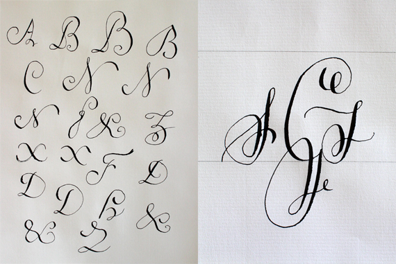 I tried my hand at writing the alphabet shown below. To me the alphabet looks tied up in knots. On the right is my first stab at creating a monogram with calligraphy. Mine is too legible compared to the examples I've seen.