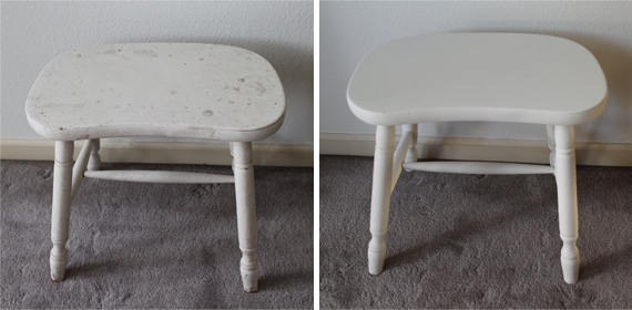 A fresh coat of paint for my kitchen stool with the extra paint from the bedroom walls.