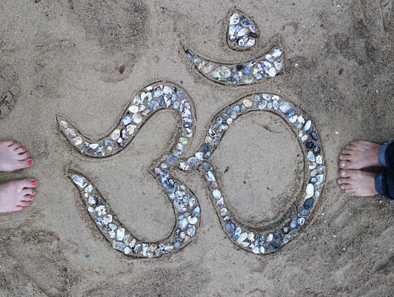 The  Yoga Hike Master  also traveling with me in Australia and I created this shell Om during our picnic.