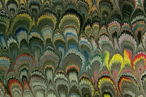 This marbled paper is from Il Papiro a paper shop in Italy. It was brought back to me from friends who visited.