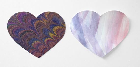 Left heart is purchased marbled paper. Right heart is cut from paper with watercolor strokes.
