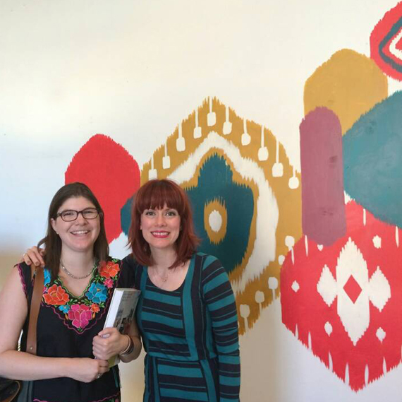 Amanda and I in front a fabulously painted ikat patterned wall. Photo and wall by Courtney Cerruti.