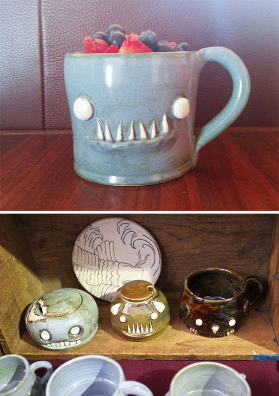 A couple years ago I bought one of these monster mugs as an xmas gift for my dad. I couldn't remember the name of the maker and hadn't seen them since. i was so excited to run into this booth because I've regretted not getting my own monster cup. Father/Daughter monster cups aren't for everyone. They've got some other critters too.
