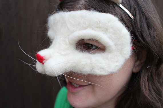 I used needle felting to create the cat mask. You may remember I previously made one for my  Smokey Bear costume.