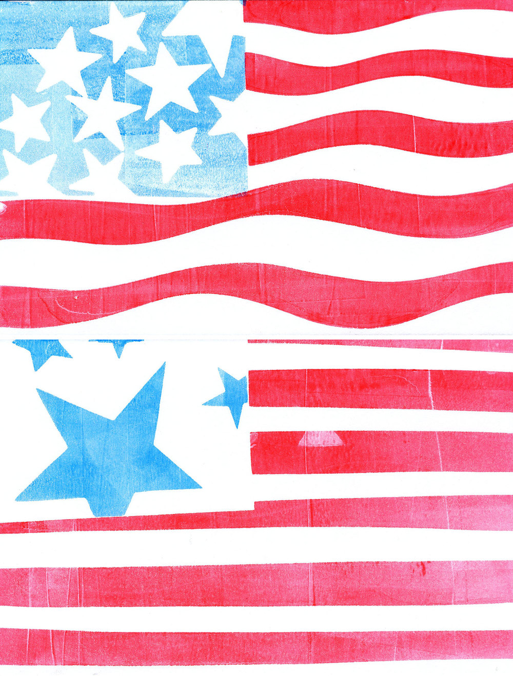 I cut out stars and striped paper masks to create the flag prints.