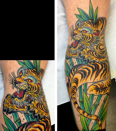 Tiger by Jeff Zuck Name Brand Tattoo Ann Arbor MI