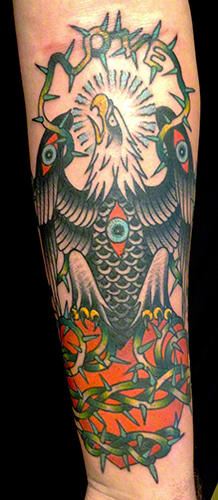Traditional Eagle by Jeff Zuck Name Brand Tattoo Ann Arbor MI