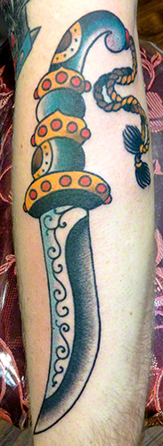 Traditional Dagger by Jeff Zuck Name Brand Tattoo Ann Arbor MI
