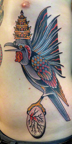 Traditional Bird Tattoo by Jeff Zuck, Name Brand Tattoo