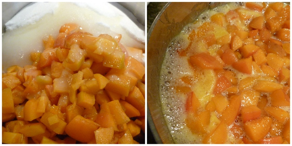 Chopped up apricots and sugar, cooking down to a jam.