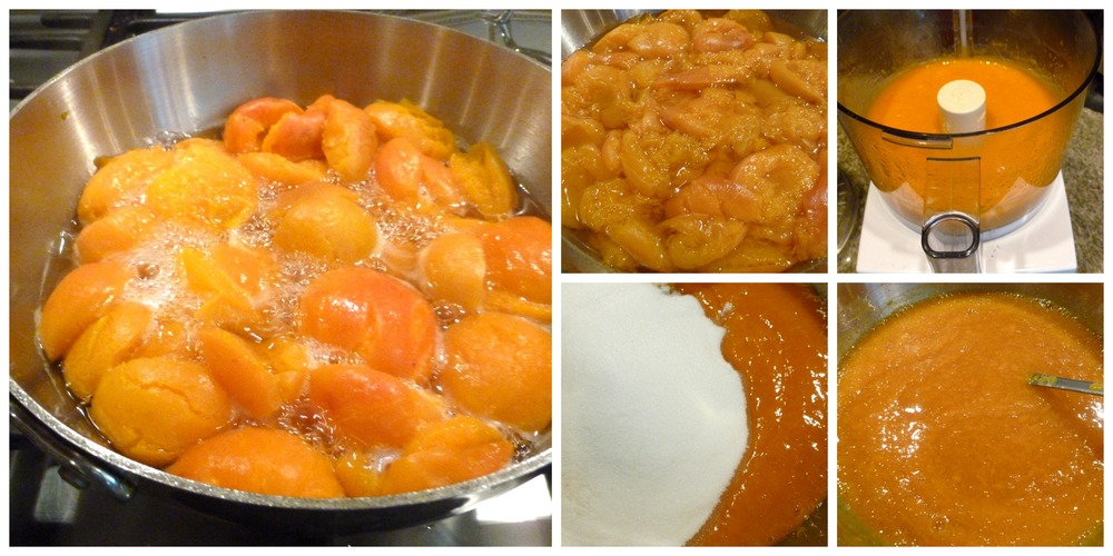 Halved apricots cooked until very tender, pureed, mixed with sugar, the cooked till thickened.