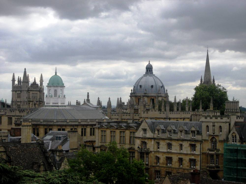 View of the Oxford Skyline from the bell tower at Trinity College
