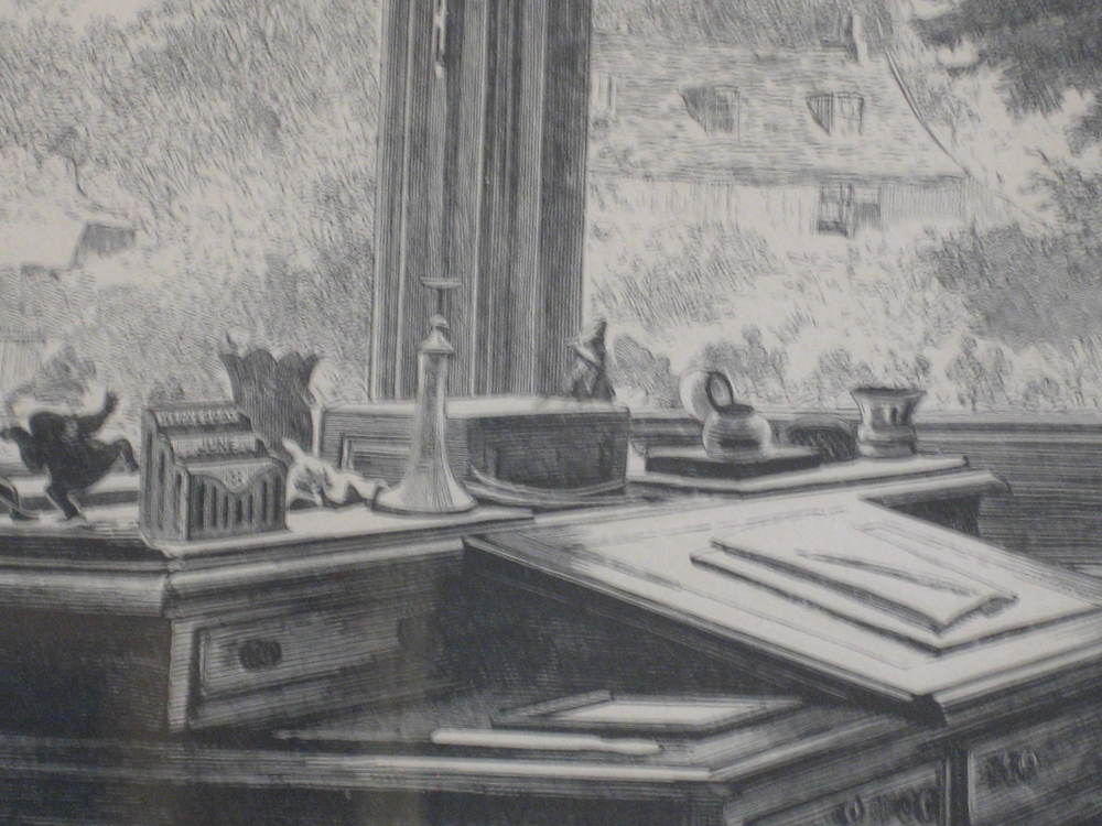 A close-up of Dickens's desk as captured Luke Fildes's _The Empty Chair_.  One of the dueling frogs is obvious on the far left, and then moving from left to right, you can see a letter sorter, a vase, a candlestick holder, a box, and then a mysterious figure in pointed hat.  What is this figurine?  Is this the dog thief/salesman?  It's back is to us (which I find fits with the secretive nature of hoarding).  Read on below for more info on the identity of this figurine and why it matters so much.