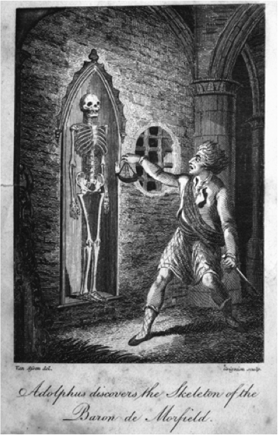 Frontispiece for  The Skeleton; or, Mysterious Discovery. A Gothic Romance  by Isaac Crookenden.