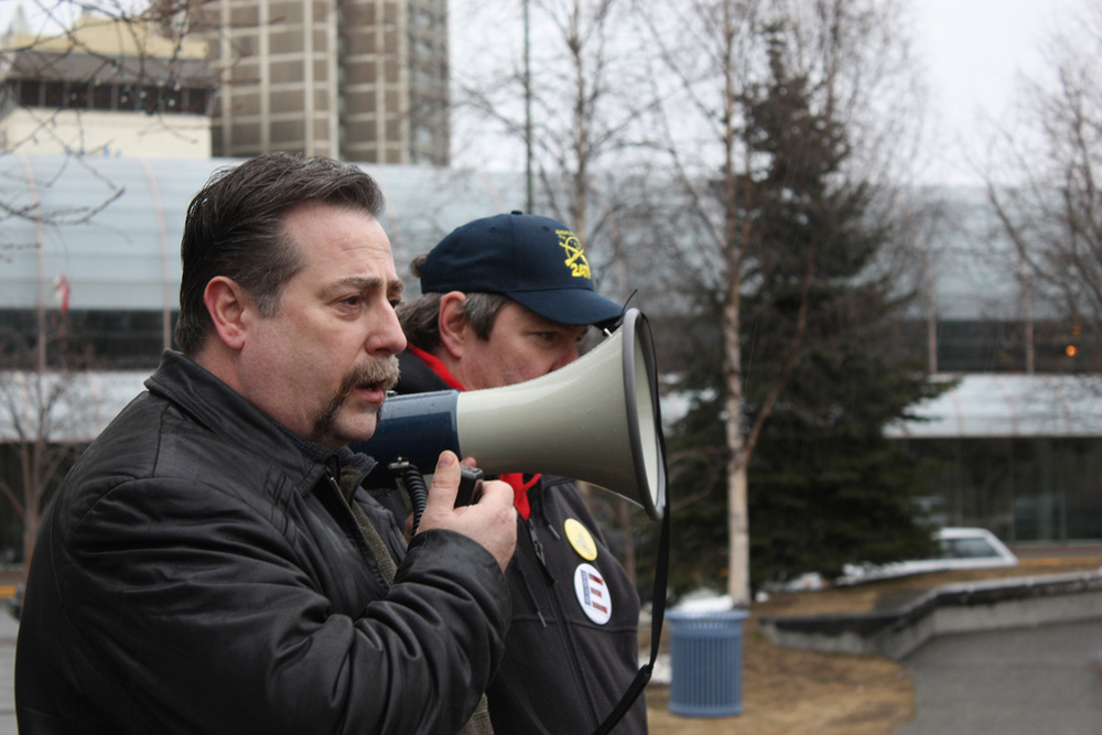 George Hines, speaking before U.S. Senate Candidate Joe Miller (R), at an April 19, 2010 Second Amendment  rights rally, in Anchorage AK. PHOTO CREDIT: Joshua Tucker