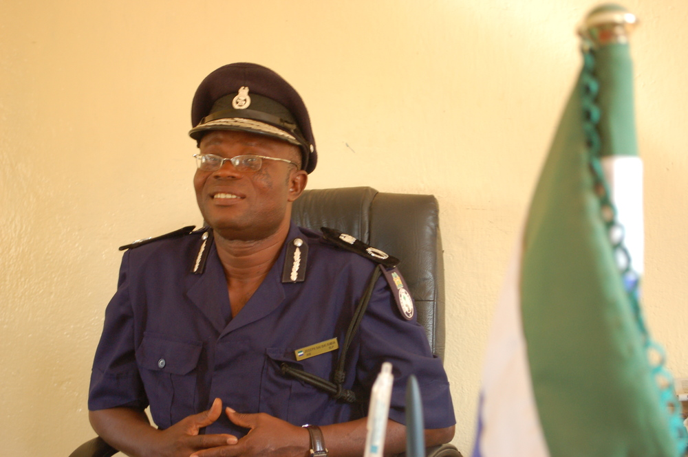 Assistant Inspector General (AIG) of Police for the Northern Region of Sierra Leone, Joseph Kabia in his office.
