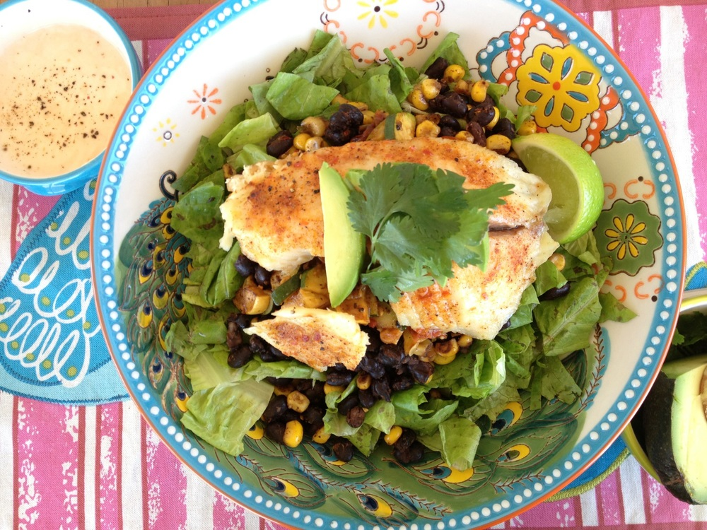 Tilapia Salad with Queso Fresco Dressing Recipe - FitCakery.com