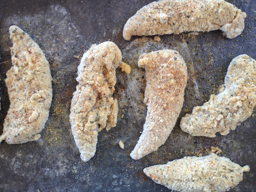 Chicken strips, pre-baking