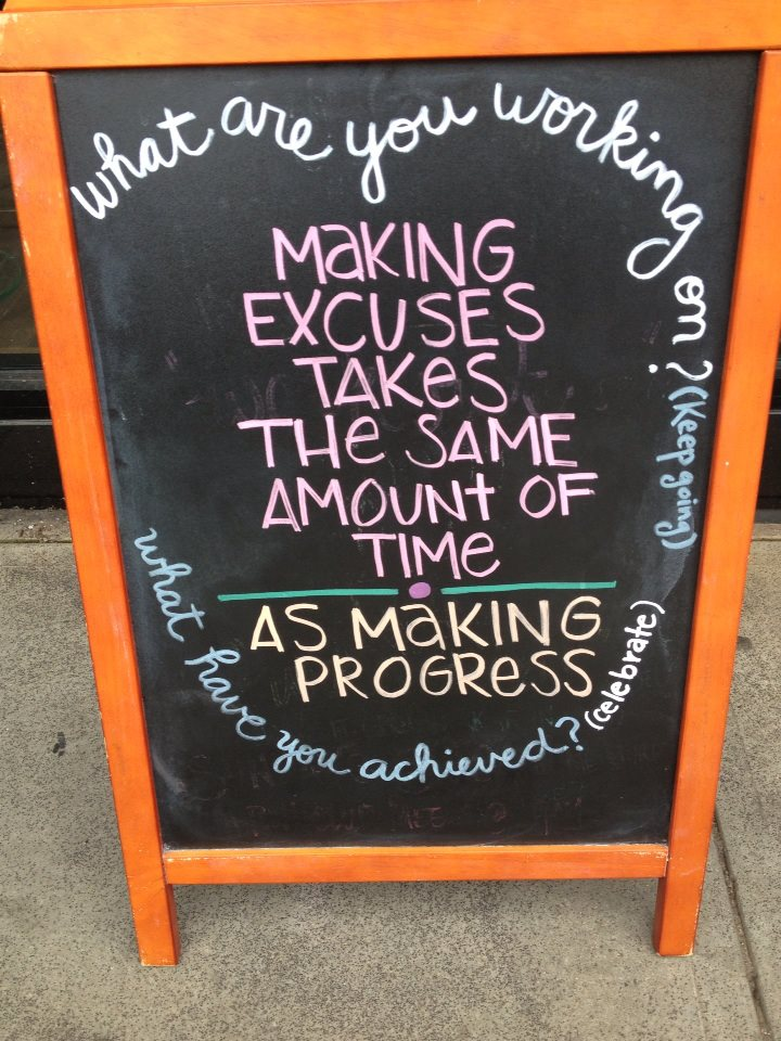 Found this sign on a walk around town the other day - talk about motivation to-go!  How great is that?