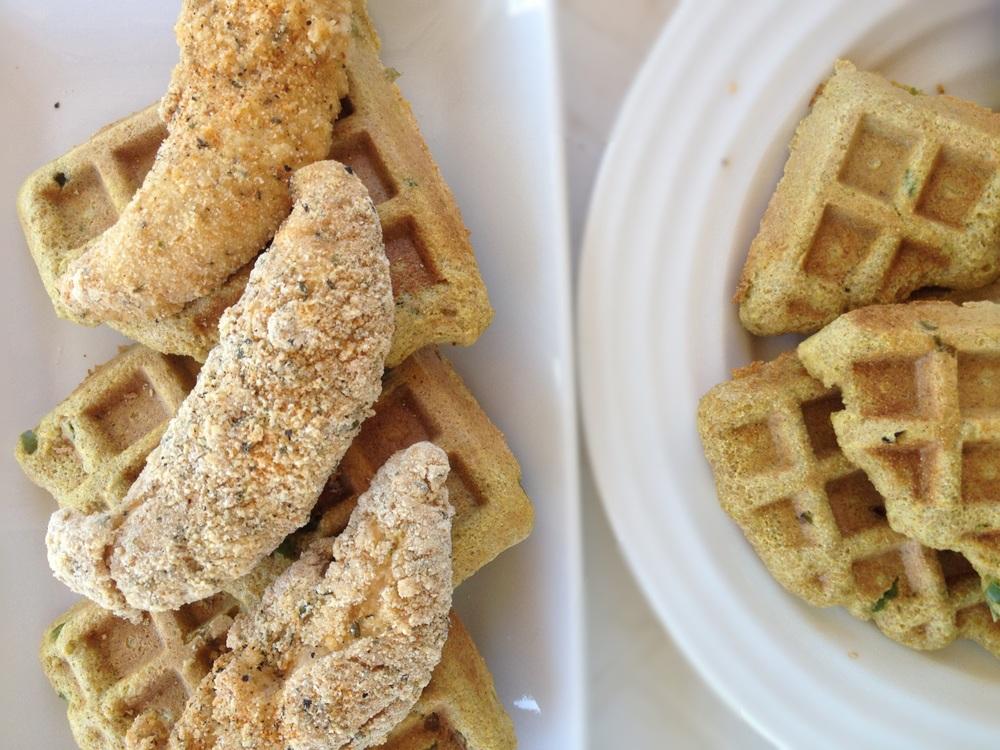 Jalepeno Cornbread Chicken + Waffles