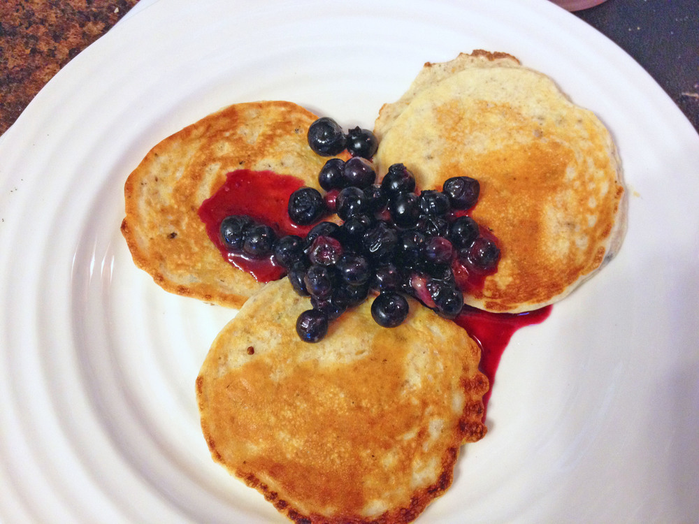 Sometimes I like a little blueberry on my low-carb protein pancakes!