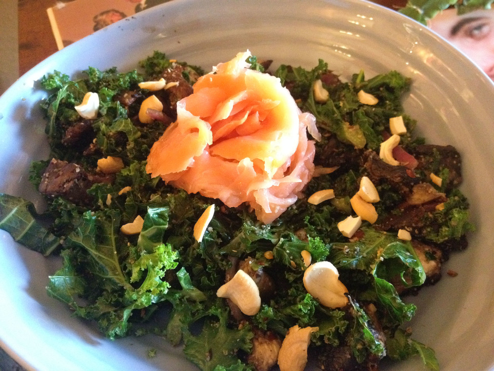 This Coconout Oil Sauteed Garlicky Kale with Smoked Salmon and Cashews was super quick to make, but also seemed totally gourmet!  Spritz with fresh lemon juice or zest for an extra something!