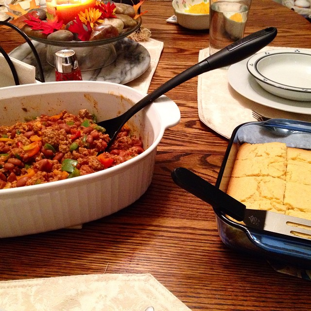 "Yummy! Post-""Pre-Judging"" homemade chili and cornbread! Thanks Mom!"