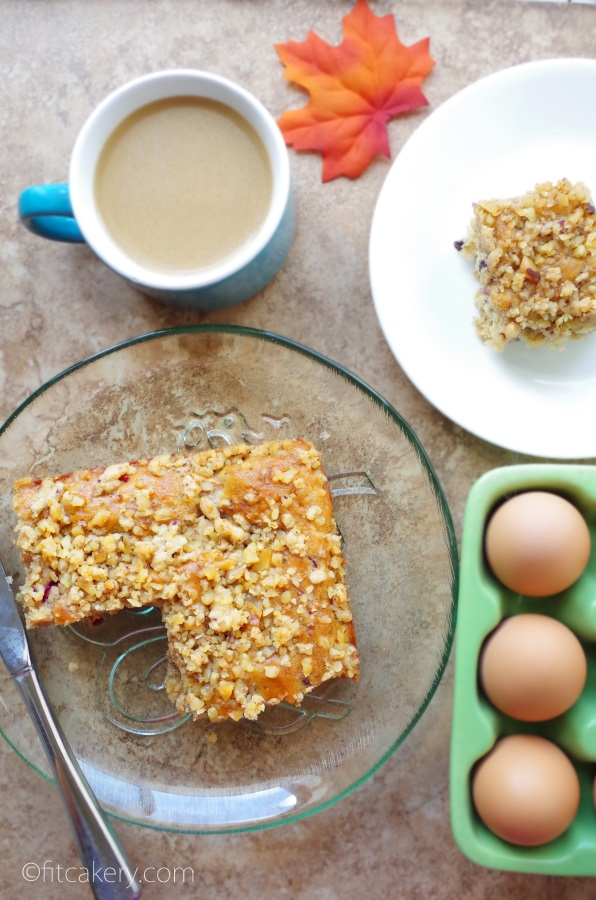 Cranberry Apple Coffee Cake + Walnut Streusel - great recipe for any time! #healthybaking