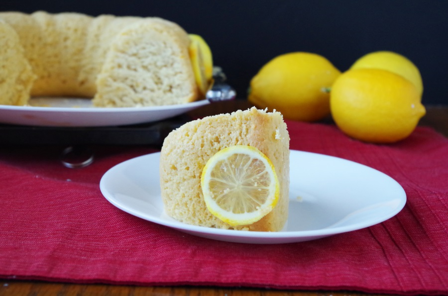 A recipe for Lemon Bundt Cake that is moist, rich, & filled with healthy ingredients! #healthybaking