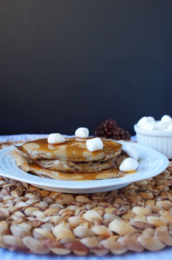 Graham cracker flavored protein powder makes fun s'mores protein pancakes! - FitCakery.com