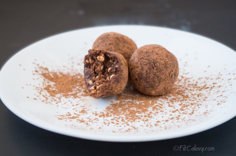 No-Bake Chocolate Power Truffles - a healthy dessert recipe packed with protein! - FitCakery.com