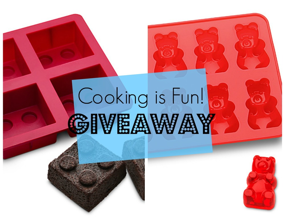 Lego shaped mold and gummy bear shaped mold giveaway - FitCakery.com