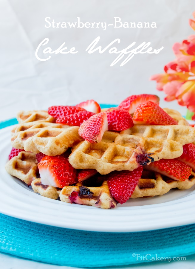 Strawberry-Banana Cake Waffles - a recipe for soft, delicious, + healthy waffles - FitCakery.com