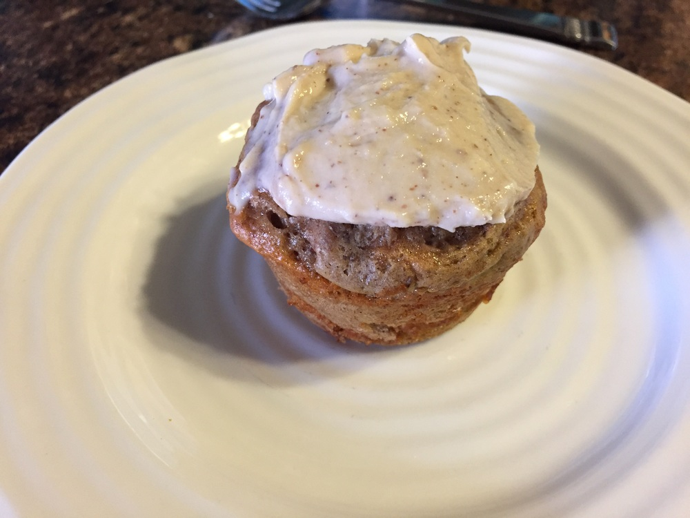 I took a photo of this Quest Protein Cinnabun right after baking it.  So good! - FitCakery.com