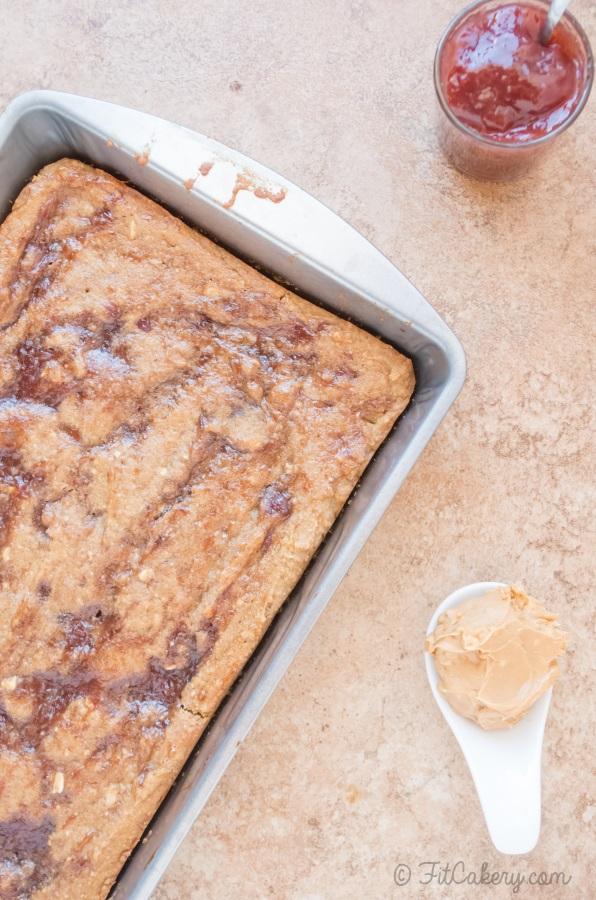 Peanut Butter Raspberry Swirl Bars recipe, gluten-free & vegan! - FitCakery.com