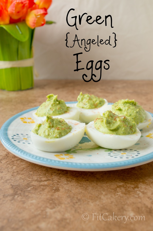 Green {Angeled} Eggs - a healthy & fun recipe for hard boiled eggs | FitCakery.com