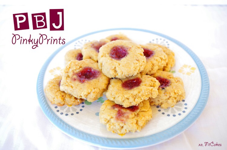 PBJ Pinkyprints Cookie recipe - gluten-free, low-carb - FitCakery.com
