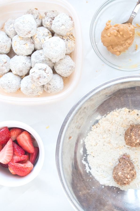 Peanut Butter and Jelly Cookie Dough Bites Recipe (gluten-free, vegan) - FitCakery.com
