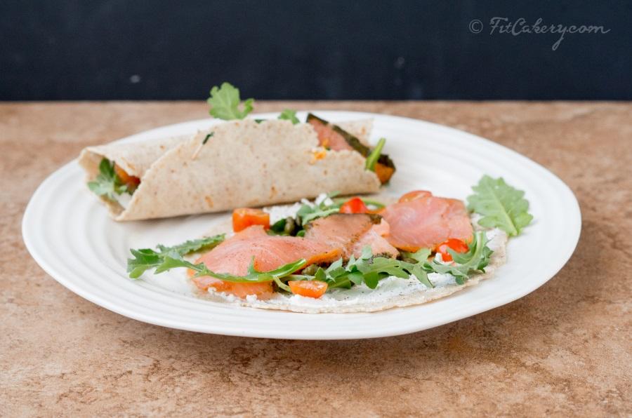 Smoked Salmon-Arugula Rollups recipe - FitCakery.com